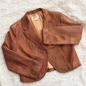 MICHAEL KORS Studded Leather Blazer Jacket Cognac